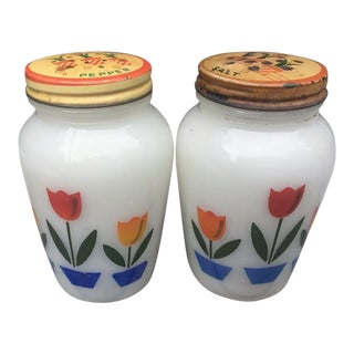 Mid Century Fire King Tulip Salt & Pepper Shakers - a Pair For Sale
