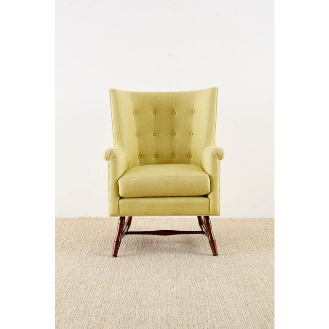 Modern Westcott Citron Linen Wing Chair by Bunny Williams For Sale - Image 3 of 13