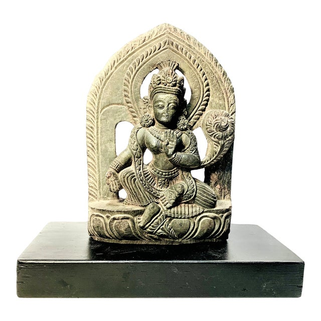 Antique Late Malla Period Nepalese Hand Carved Stone Buddha Bodisattva For Sale