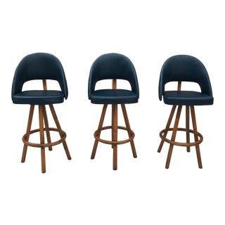 Blue Vintage Rattan Swivel Barstools - Set of 3 For Sale