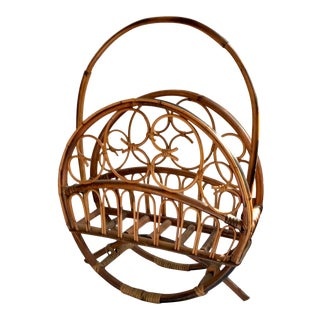 Vintage Bent Rattan Magazine Rack For Sale