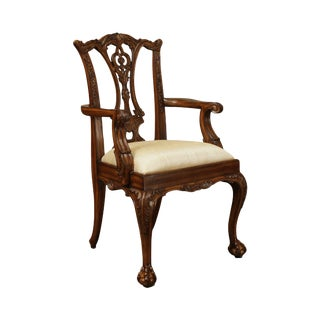 Maitland Smith Chippendale Style Carved Mahogany Ball & Claw Childs Armchair For Sale