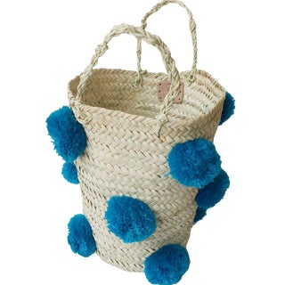 Moroccan Turquoise Pompom Basket For Sale