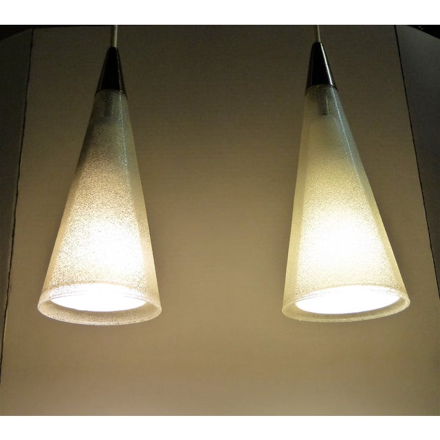 1950s Italian Double Cone Glass and Brass Pendants - a Pair For Sale - Image 4 of 10