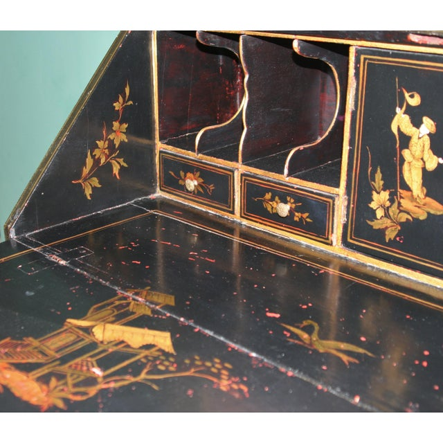 Glass 1900s Queen Anne Style Chinoiserie Gold Secretary Desk For Sale - Image 7 of 13