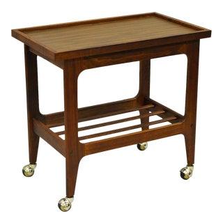 Vintage Mid Century Modern Walnut & Laminate Rolling Bar Cart End Table Danish Style