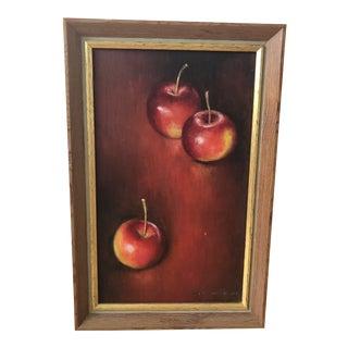 1960s Realist Still Life Painting of Apples by Doris Wokura For Sale