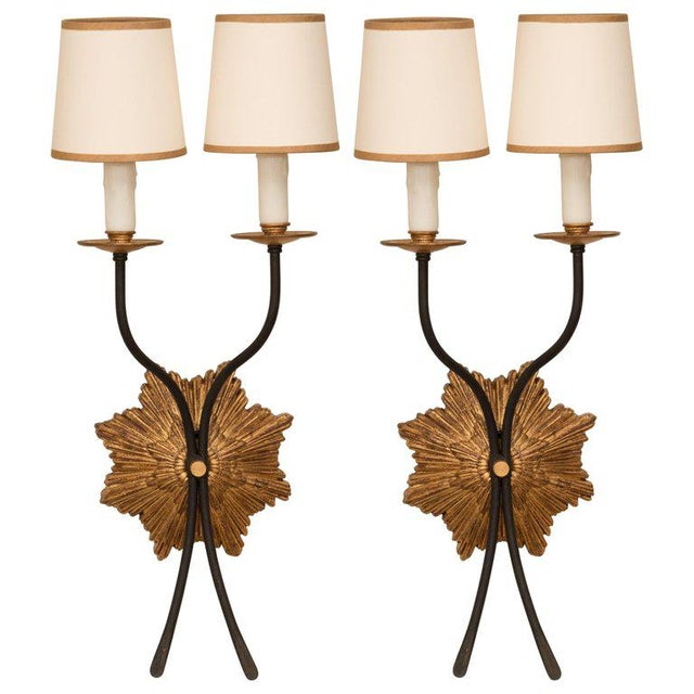 Gold Pair of Gilt Iron Sconces For Sale - Image 8 of 8