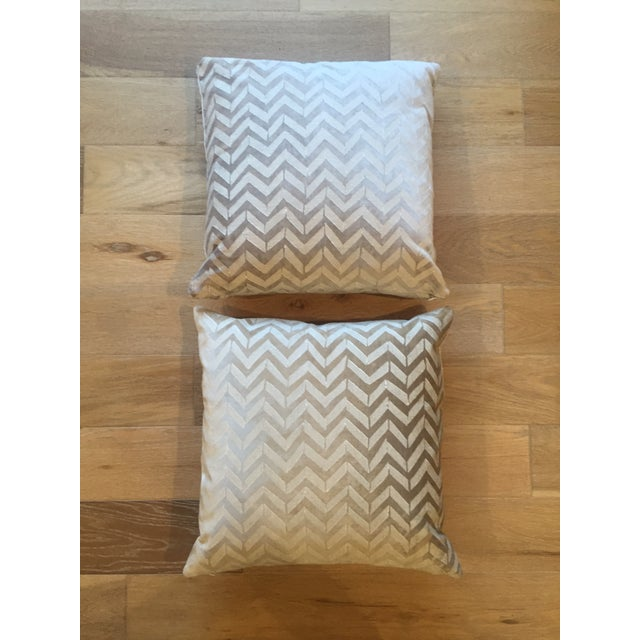 Room & Board White Herringbone Pillows - A Pair - Image 2 of 4