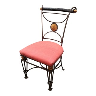 1940's French Art Deco Style Wrought Iron Upholstered Chair For Sale