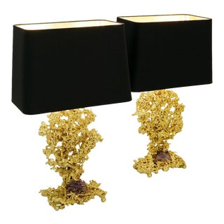 French Bronze & Amethyst Table Lamps by Claude Victor Boeltz, 1970s For Sale