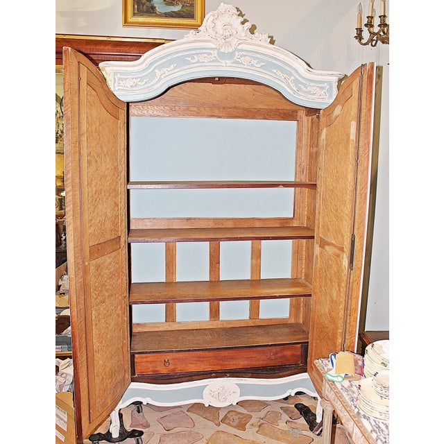 Glass 19th Century French Country Painted Armoire For Sale - Image 7 of 13