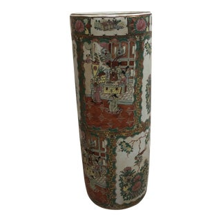 Vintage Chinoiserie Umbrella Vase For Sale