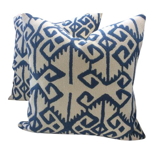 "Manuel Canovas Pillows in ""Kerala"" Blue & White Woven Aztec Pattern - APair For Sale"