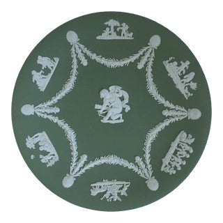 Jasperware Wedgwood Cherubs Cream Color on Celadon Plate For Sale