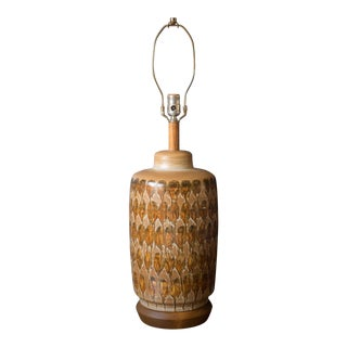 Mid Century Ceramic Pottery Glazed Lamp For Sale