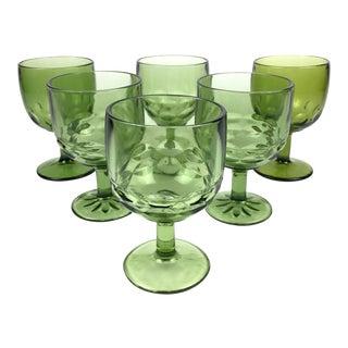 Vintage Green Goblets - Set of 6 For Sale