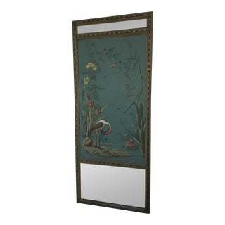 Antique Hand Painted Stork on Canvas Mirror For Sale