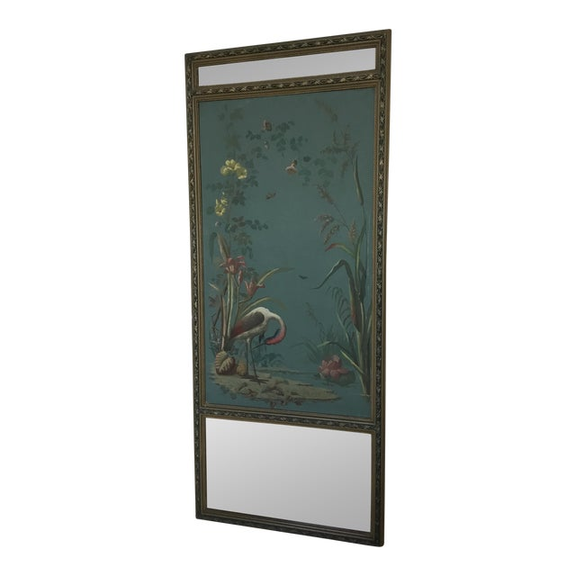 Antique Hand Painted Stork on Canvas Mirror - Image 1 of 5