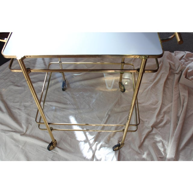 Vintage Mid-Century Brass and Glass Bar Cart - Image 5 of 9