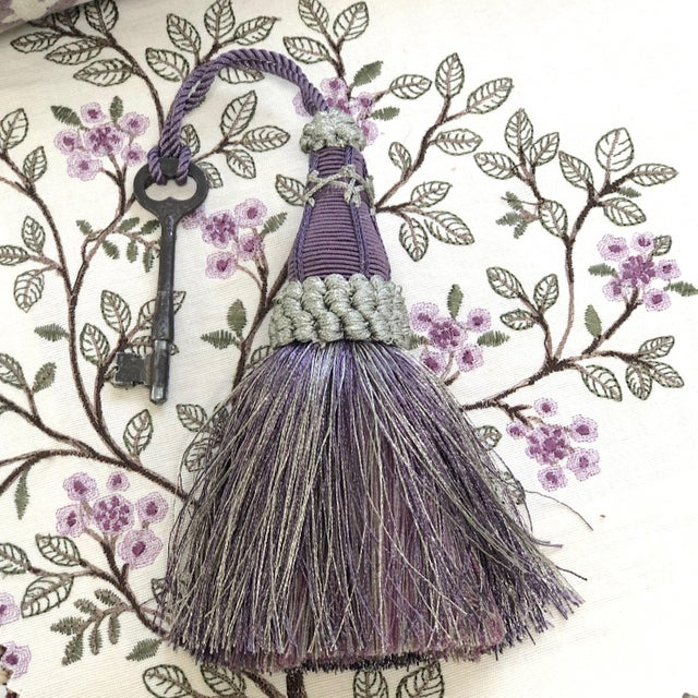 Amethyst Key Tassel in Amethyst and Gray With Ruche Trim For Sale - Image 8 of 11