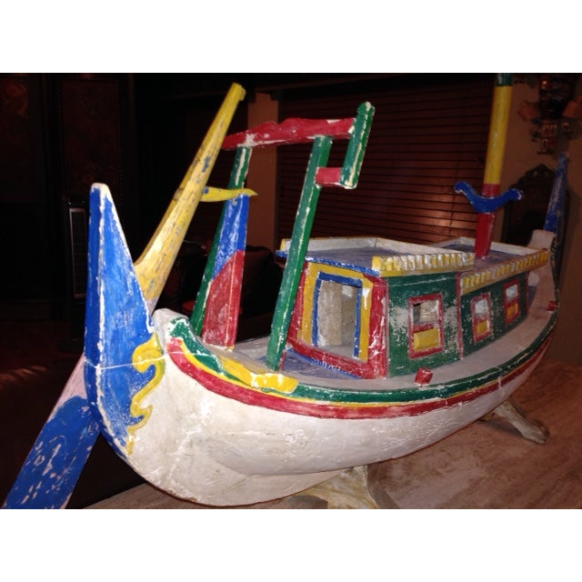 Decorative Vintage Children's Wood Boat with Stand - Image 8 of 11