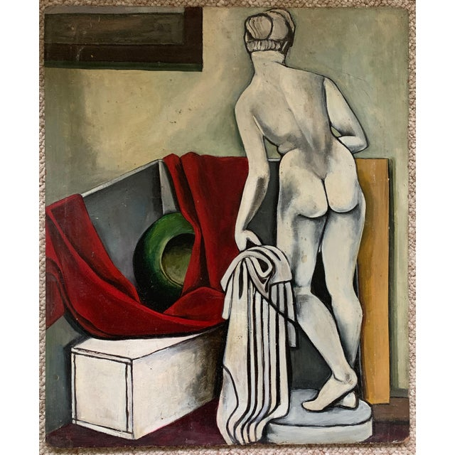 1940s Vintage Nude Woman Still Life Oil Painting For Sale - Image 11 of 11