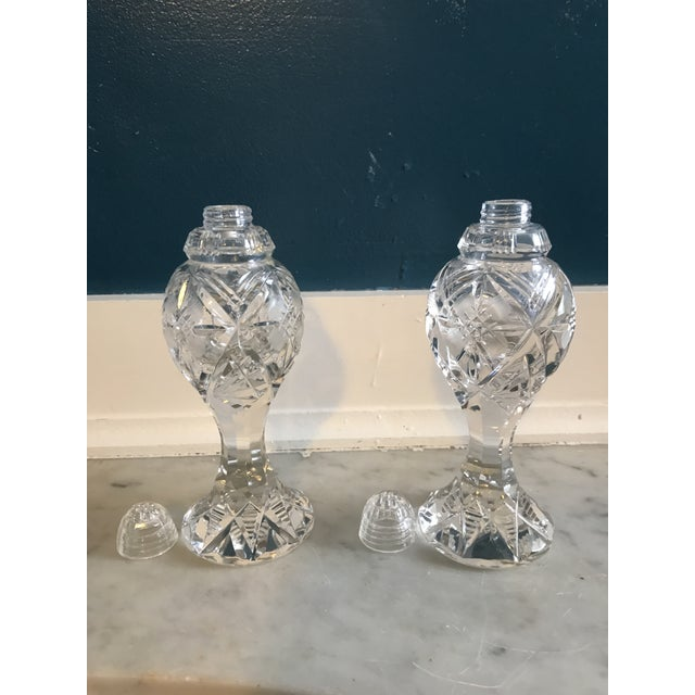 Mid 20th Century Crystal Hollywood Regency Salt and Pepper Shakers - a Pair For Sale - Image 5 of 5