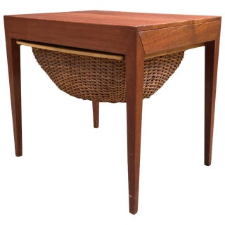Severin Hansen Teak and Rattan Sewing Table for Haslev For Sale