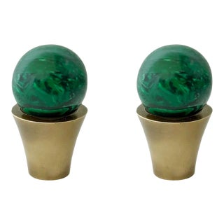 Addison Weeks Tanner Knob, Antique Brass & Malachite - a Pair For Sale