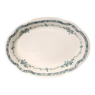Bishop and Stoiner Boscobel Pattern Teal Platter For Sale