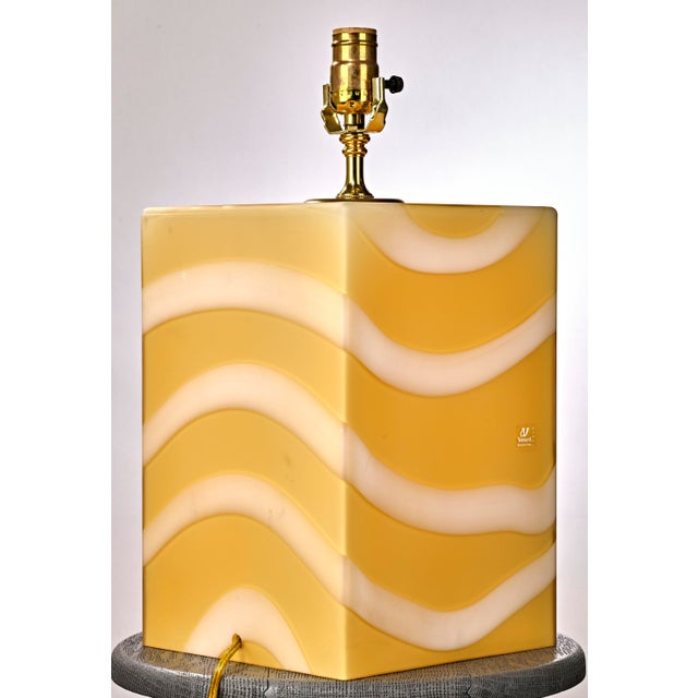 Murano Mid-Century Modern Murano Glass Yellow and White Cube Table Lamp For Sale - Image 4 of 6