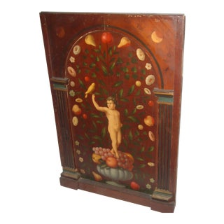 Antique Painted French Wood Panel of Cherub & Fruit & Bird For Sale