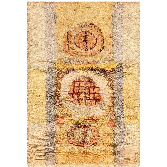 Leena Kaisa Designed Vintage Scandinavian Rya Rug - 3′5″ × 5′1″ For Sale - Image 10 of 10