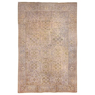 Antique Transitional Green and Grey Sultanabad Wool Rug with Floral Pattern For Sale