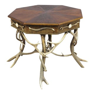 Elaborately Crafted Octagonal Antler Table Ca. 1900 For Sale