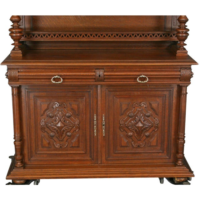 Antique Carved Oak French Henry II Hutch - Image 5 of 8