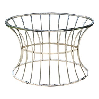 70s Platner Inspired Polished Chrome Oval Ellipses Dining Table Base For Sale