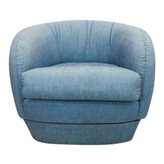 1970s Mid Century Modern Milo Baughman Style Blue Lounge Chair