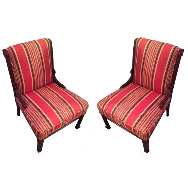Red Striped Eastlake Slipper Chairs - A Pair - Image 1 of 4
