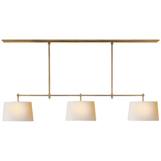 Bryant Billiard Brass with Natural Paper Shades Light For Sale