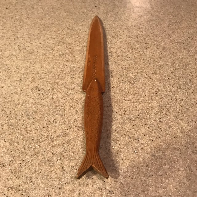 Folk Art Vintage Hand-Carved Wood Fish Letter Opener For Sale - Image 3 of 10