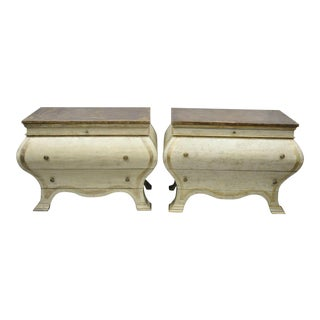20th Century Italian Venetian Style Cream Distress Paint Bombe Commodes - a Pair For Sale