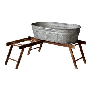 Antique Laundry Stand With Galvanized Tub For Sale