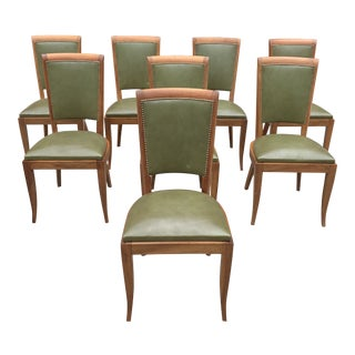 1940s Vintage Classic French Art Deco Solid Mahogany Dining Chairs - Set of 8 For Sale