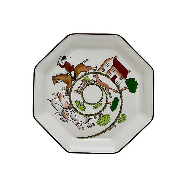 Cottage Wedgwood Hunting Scene Octagonal Plate For Sale - Image 3 of 3