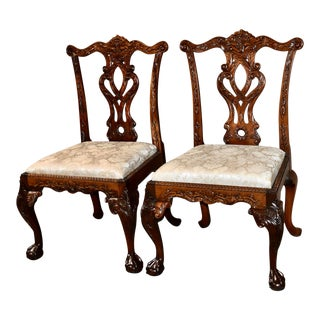 Mahogany Irish Carved Chippendale Style Side Chairs - a Pair For Sale