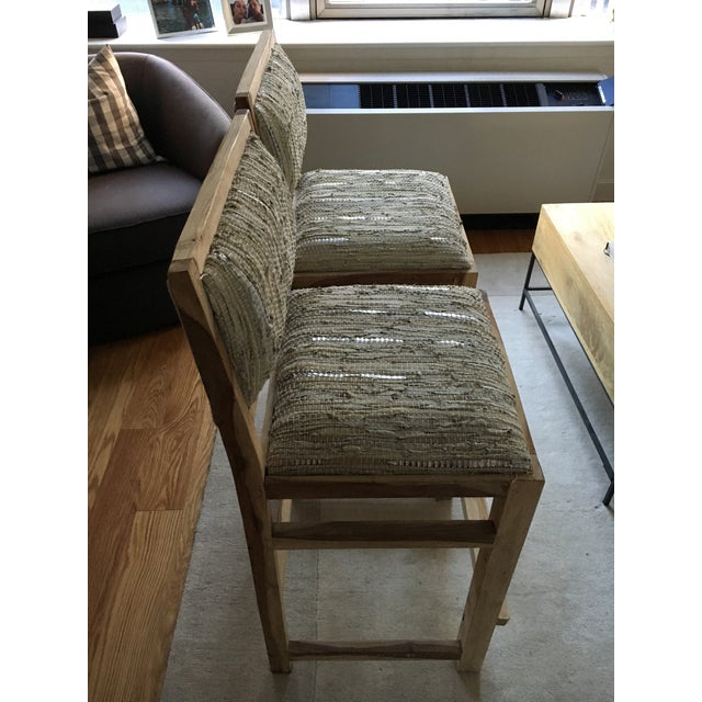 Calypso St. Barth Sandstone Woven Leather Stools - A Pair - Image 3 of 8