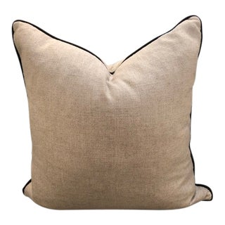 Rustic Grey Linen W/ Brown Piping Pillow For Sale