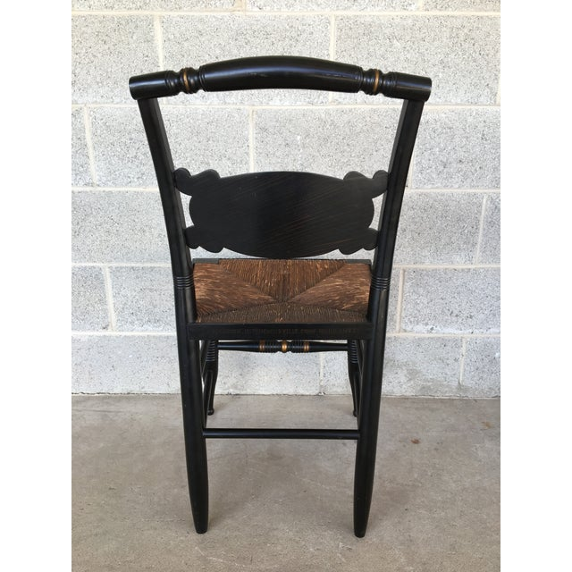 Wood 1940s L. Hitchcock Rush Bottom Bolster Turtle Back Side Chair For Sale - Image 7 of 10
